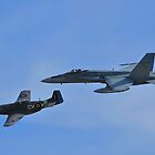 F/A-18 and P51D Heritage Flight by Tim Pruyn