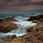 A Sunset, A Storm Waves and A Waterfall by bazcelt