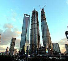 3 Skyscrapers, Pudong, Shanghai by DaveLambert
