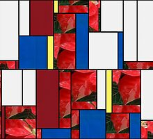 Mottled Red Poinsettia 1 Ephemeral Art Rectangles 4 by Christopher Johnson