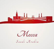 Mecca skyline in red by Pablo Romero