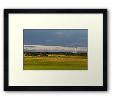Golfers view of Covesea Lighthouse. Framed Print