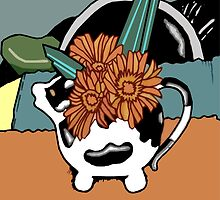 Cow Tea Pot with Gerberas (Digital Version) by Donna Huntriss