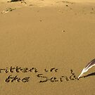 written in the sand with feather quill by morrbyte