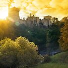 Lismore castle sunset over the blackwater river by morrbyte
