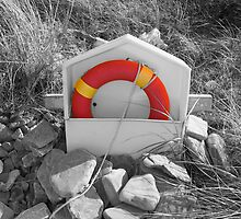 orange lifebuoy on rocky Beal beach by morrbyte