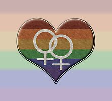 Lesbian Pride Rainbow Heart with Female Gender Symbol by LiveLoudGraphic