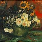 Bowl with Sunflowers, Roses and other Flowers, Vincent van Gogh. Vintage floral oil painting. by naturematters