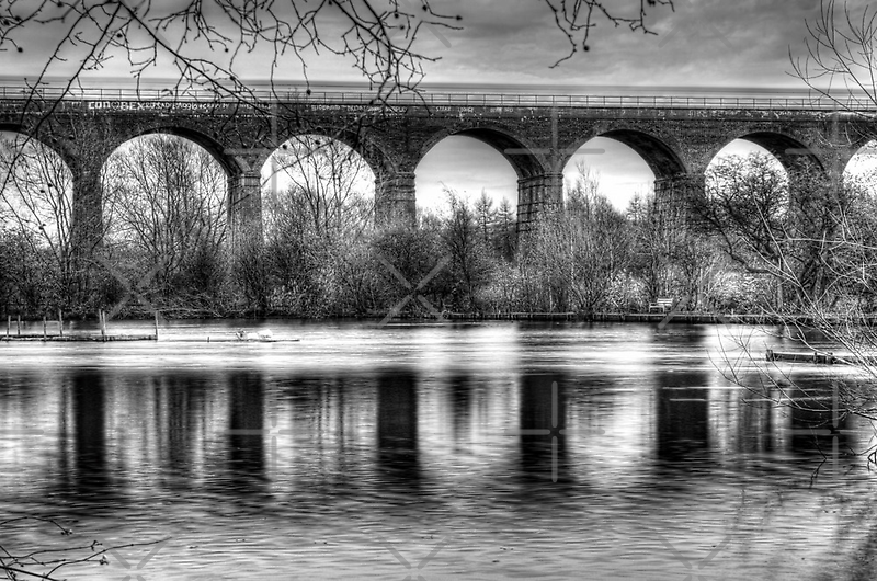 Viaduct at Reddish Vale Country Park by Avril Harris