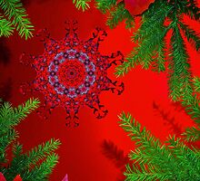 Red christmas snowflake card by Avril Harris