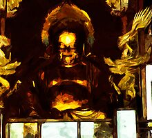 Golden Buddha Kyoto Japan Abstract Impressionism by pjwuebker