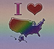 LGBT Pride I Heart United States Rainbow Map by LiveLoudGraphic