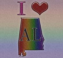 I Heart Alabama Rainbow Map - LGBT Equality by LiveLoudGraphic