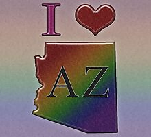 I Heart Arizona Rainbow Map - LGBT Equality by LiveLoudGraphic