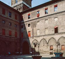 Courtyard with wells Este Palace Ferrara Italy 198404150073 by Fred Mitchell