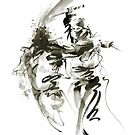 Samurai sword bushido katana ninja shadow martial arts sumi-e original ink painting artwork by Mariusz Szmerdt