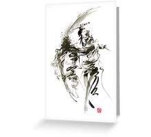 Samurai sword bushido katana short knife ninja shadow martial arts sumi-e original ink painting artwork Greeting Card