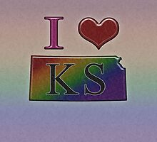 I Heart Kansas Rainbow Map - LGBT Equality by LiveLoudGraphic