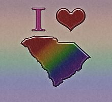 I Heart South Carolina Rainbow Map - LGBT Equality by LiveLoudGraphic