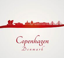 Copenhagen skyline in red by Pablo Romero