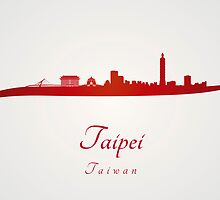 Taipei skyline in red by Pablo Romero