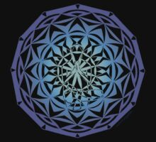 toe stand mandala in blue by yogadala