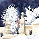 Winter gate at night (sketch) by SVETLANA ZOLOTAREVA