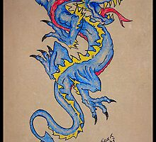 blue dragon parchment card by dedmanshootn