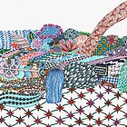 Cactus In Rock Garden Doodle by Briana Kane