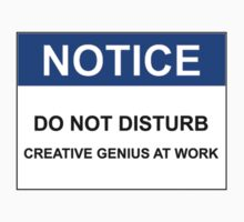 NOTICE: DO NOT DISTURB, CREATIVE GENIUS AT WORK by Bundjum