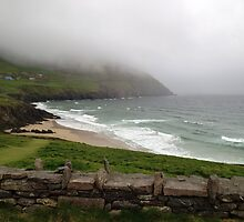 Mist over the mountains at Coomeenole Beach, Kerry, Ireland by Maire Morrissey-Cummins