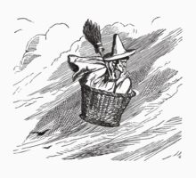 Witch Flying in a Basket by Pixelchicken