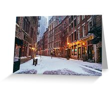 Stone Street in the Snow - New York City Greeting Card