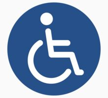 Blue disabled symbol, round stickers by Mhea