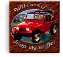 Jeep Wrangler Wild and Free Canvas Print