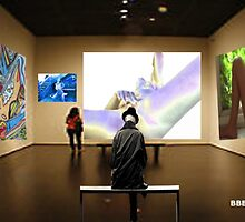 Man and Bystander in Art Gallery looking at explicit nude  by BBBango