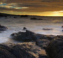 Lava rock in mist at sunset by Kenji Ashman