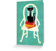 Still life with cat, chair, and book Greeting Card
