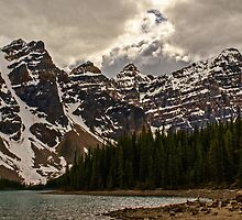 Moraine Lake Nestled In The Valley Of The Ten Peaks - Banff National Park by Jordan Blackstone