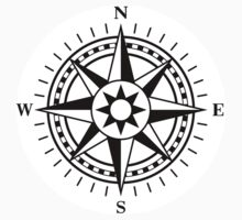 Compass rose stickers, black and white by Mhea