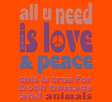 all u need is love & peace - love, peace, rescue, animal rights, vegan Kids Clothes