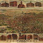 1891 Los Angeles, California Vintage Map by Edward Fielding