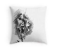 Samurai sword bushido katana martial arts sumi-e original running run man design ronin ink painting artwork Throw Pillow