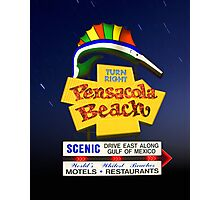 Pensacola Beach Sign and Stars Photographic Print