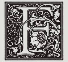 William Morris Renaissance Style Cloister Alphabet Letter F by Pixelchicken