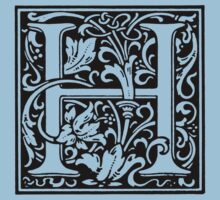 William Morris Renaissance Style Cloister Alphabet Letter H by Pixelchicken