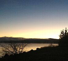 Panoramic - Jindabyne Lake Winter Sunset by James Toh