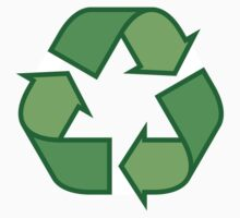 Recycling symbol stickers, three shades of green by Mhea