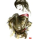 Geisha Gold Kimono Japanese woman sumi-e original painting art print by Mariusz Szmerdt