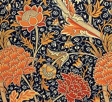 William Morris Cray Blue and Orange by Pixelchicken